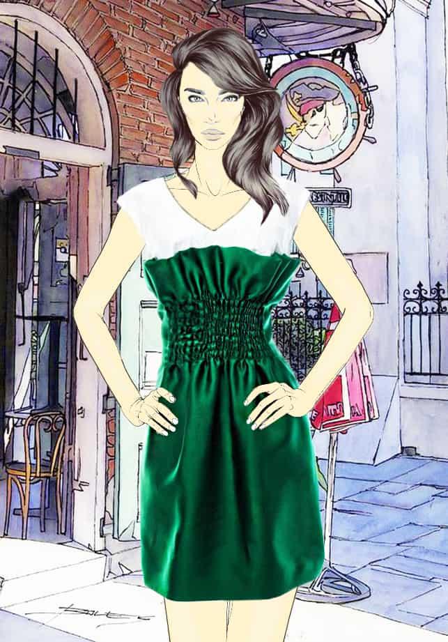 rochie-tafta-verde-siring-talie-bustul-alb-w10264-